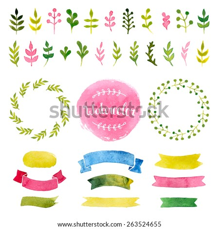 Vector watercolor collection with ribbons, label, floral elements, wreaths. Hand drawn watercolor design elements isolated on white background - stock vector