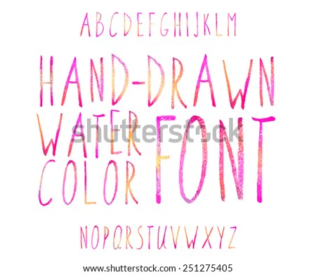 Vector watercolor colored alphabet. Hand-drawn stylish slim font. - stock vector