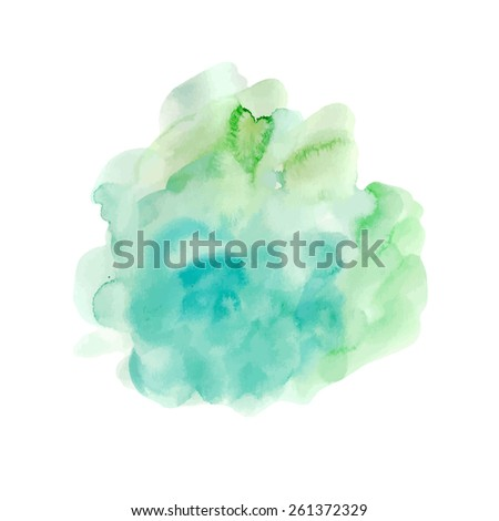 vector watercolor colorful background in green and  blue colors - stock vector