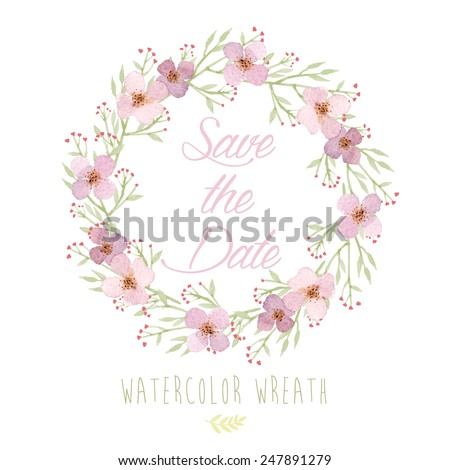 Vector watercolor colorful circular floral wreaths with summer flowers and central white copy space for your text. Vector watercolor of wreath with flowers. Save the date, wedding invitation - stock vector