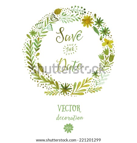 Vector watercolor colorful circular floral wreaths with summer flowers and central white copyspace for your text. Vector handdrawn sketch of wreath with flowers. Save the date - stock vector