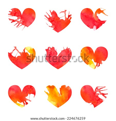 Vector watercolor colorful cute heart set with splash paint effect. Best for valentine card, romantic background or as a set of isolated objects - stock vector