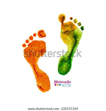 Vector watercolor colorful footprints - stock vector