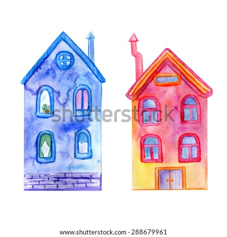 Vector watercolor colorful imaginary houses. Set of two doodle fairy tale buildings. Cute hand drawn objects for your design. - stock vector