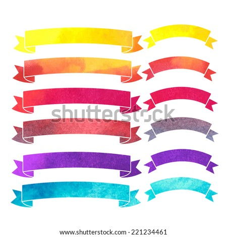 vector watercolor colorful ribbons banners - stock vector