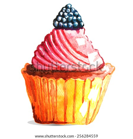 Vector watercolor cupcake with blackberry. Can be used for invitation, postcard, greeting card. - stock vector