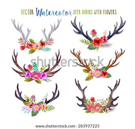 Vector watercolor deer horns with flowers. - stock vector
