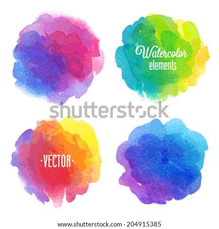 Vector Watercolor design elements. - stock vector