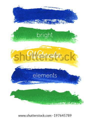 Vector watercolor design elements - Brazil style. - stock vector