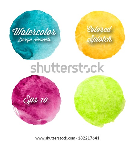 Vector watercolor design elements. Hand drawn abstract colorful ink circles. - stock vector