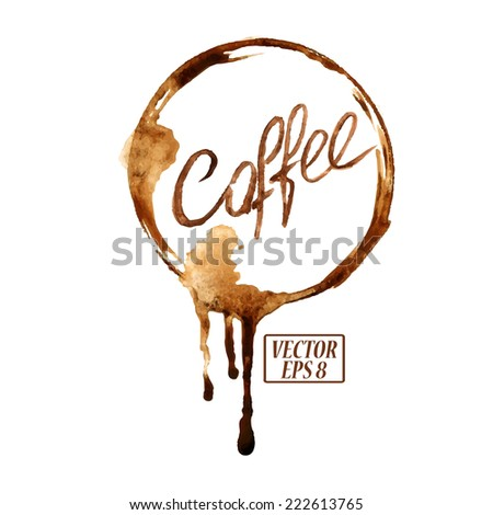 Vector watercolor emblem with spilled coffee stains