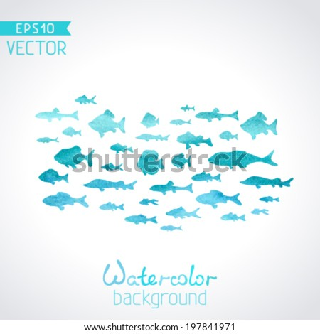 Vector watercolor fish on light background. Blue watercolour background. There is place for your text. - stock vector