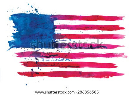 vector watercolor flag of the united states of America - stock vector