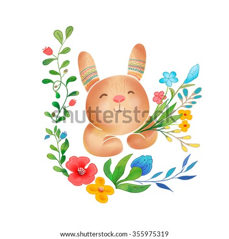Vector Watercolor Floral background With Hand Painted bunny. Watercolor valentine card. Text Frame.  Template for wedding, valentine day, mothers day, birthday, invitations. - stock vector