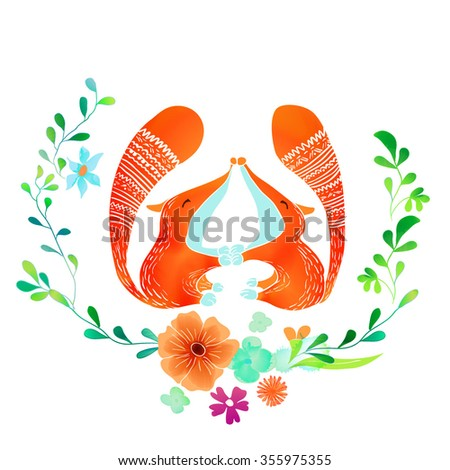 Vector Watercolor Floral background With Hand Painted kissing foxes. Watercolor valentine card. Text Frame.  Template for wedding, valentine day, mothers day, birthday, invitations. - stock vector