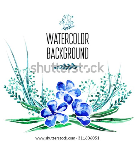 Vector Watercolor Floral background With Hand Painted Leaves. Watercolor Leaf Branch backdrop. Illustration in indie boho style. - stock vector