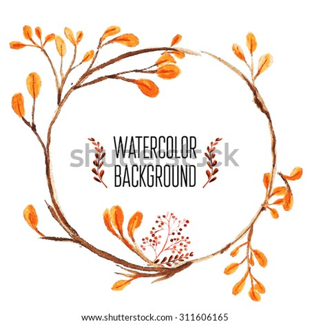 Vector Watercolor Floral background With Hand Painted Leaves. Watercolor Leaf Branch backdrop. Text Frame. - stock vector