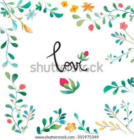 Vector Watercolor Floral background With Hand Painted Leaves. Watercolor Leaf Branch backdrop. Text Frame.  Template for wedding, valentine day, mothers day, birthday, invitations. - stock vector