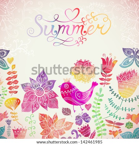 """Vector watercolor floral greeting card with """"Summer"""" lettering. Vintage retro background with floral ornament You can design cards, notebook cover and so on. Spring theme background. - stock vector"""