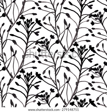 Vector watercolor floral pattern with various flowers and leaves. Spring summer seamless texture with wild herbs hand drawn in white and black colors. Vintage ornament and natural background - stock vector