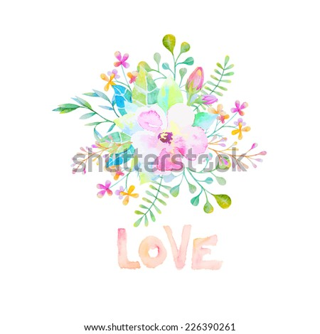 Vector watercolor flower with leaves close up - stock vector