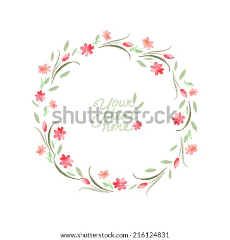 vector watercolor flowers circle frame. It can be used for invitation, card, postcard, cover. - stock vector