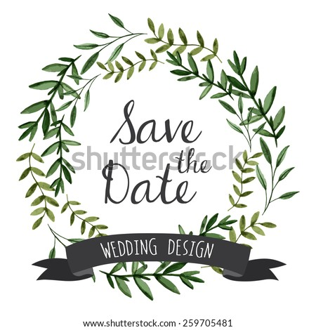 Vector watercolor flowers wreaths with ribbon for your text. Wedding invitation. - stock vector