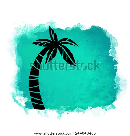 Vector watercolor green grunge geometric square paint stain with splash and hand drawn coconut palm tree closeup black silhouette. Painted frame design. Bright colors. Abstract art