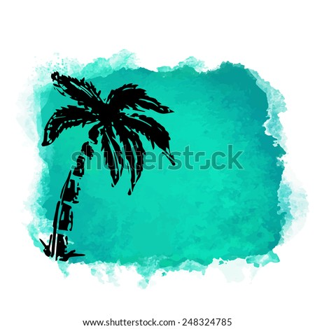Vector watercolor green grunge geometric square paint stain with splash and hand drawn coconut palm tree closeup black silhouette. Painted frame design. Bright colors. Abstract art - stock vector