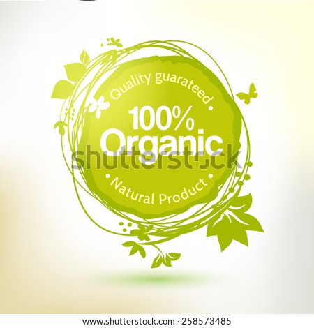 Vector watercolor hand drawing label for organic product. Sunny summer splash, sketch elements. Natural food logo element. Sketch food and drink sticker. Farm offer. - stock vector