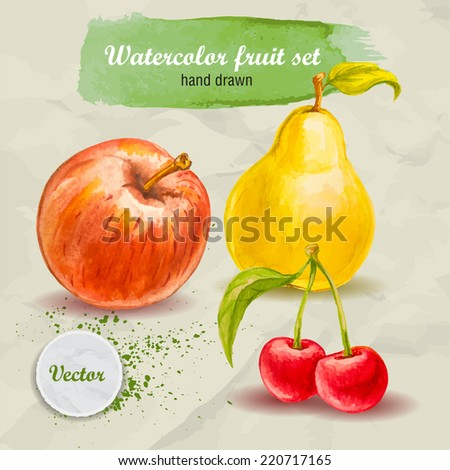 Vector watercolor hand drawn fruit set on paper with watercolor drops. Organic food illustration.Red apple, pear and cherry - stock vector