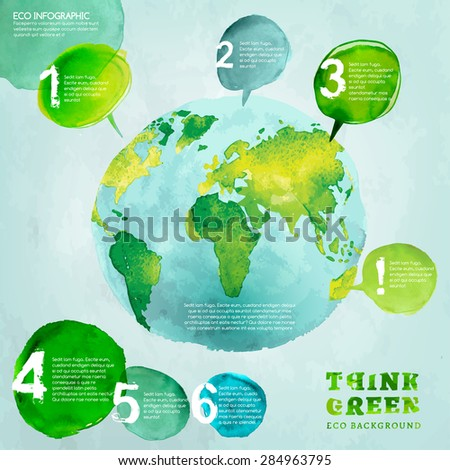 Vector watercolor hand drawn painted Illustration of environmentally friendly World map. Think Green. Ecology Concept with globe image. Info graphic elements for poster, brochure and leaflet design. - stock vector