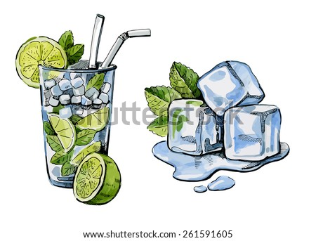 vector watercolor hand drawn picture of cocktail and ice - stock vector