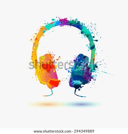 Vector watercolor headphone - stock vector