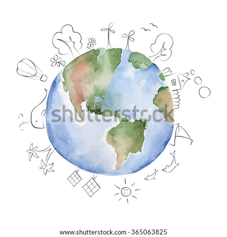 Vector watercolor Illustration --  green planet