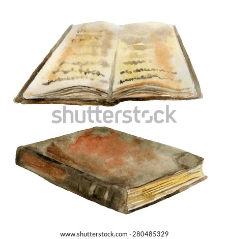 Vector watercolor illustration of old books - stock vector
