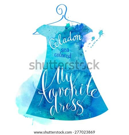 Vector watercolor image. Women dress celadon. - stock vector