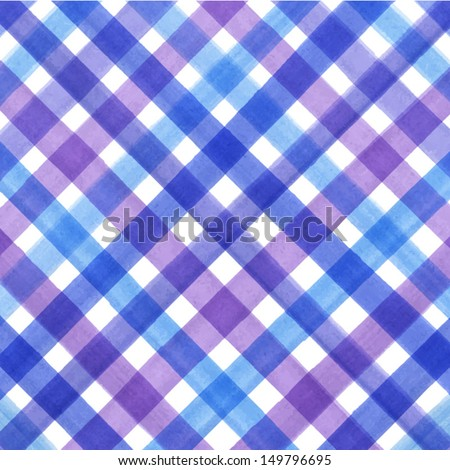 Vector watercolor lines background. Abstract multicolor texture. Fun blue plaid background for your design - stock vector