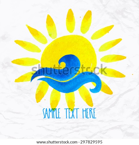 Vector watercolor logo with sun, wave, water splash and text. Design template and concept of positive attitude, family vacation, friendship, charity, local community, help, awareness, care and sharing