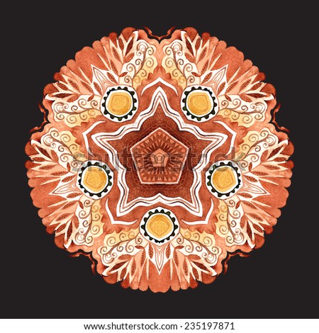 Vector watercolor mandala. Decor for your design, lace ornament. Round pattern, oriental style - stock vector