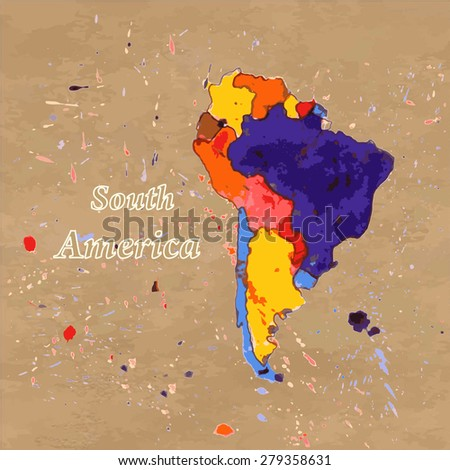 Vector watercolor  map of South America on the brown paper background. - stock vector