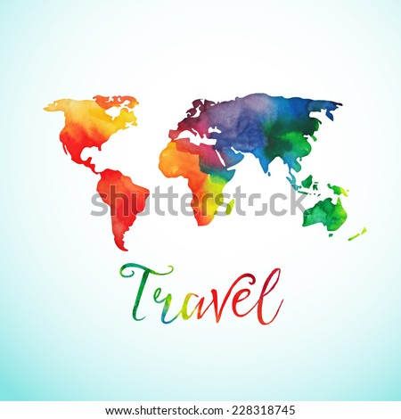 Vector watercolor map, web and mobile template. Corporate website design. Atlas globe, silhouette map - stock vector