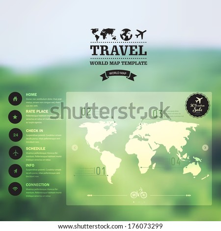 Vector watercolor map, web and mobile template. Corporate website design. Web media backdrop. Travel. Blurred. Background. Calligraphy badge. Website icons template. - stock vector