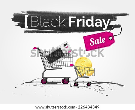 vector watercolor of label on the big Black Friday sale with shopping carts and a tag - stock vector