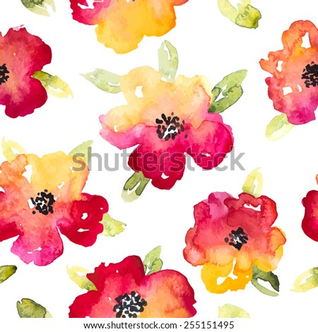 Vector Watercolor Red and Yellow Anemones Seamless Pattern - stock vector