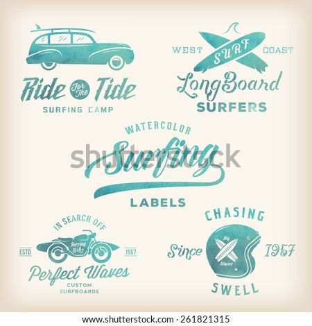 Vector Watercolor Retro Style Surfing Labels, Logos or T-shirt Graphic Design Featuring Surfboards, Surf Woodie Car, Motorcycle Silhouette, Helmet etc. Good for Posters etc. - stock vector