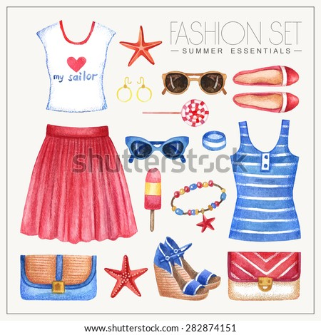 Vector watercolor romantic nautical fashion set of woman's summer clothes and accessories. Vintage hand drawn glamorous outfit with skirt, tops, bags and shoes - stock vector