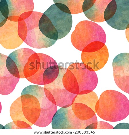 Vector watercolor rounds circles  abstract seamless pattern. Watercolor Dots Background Digital Paper - stock vector