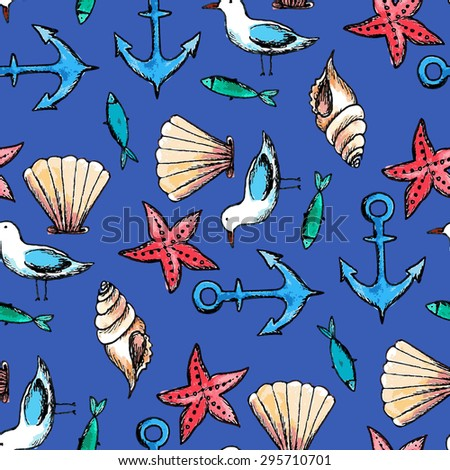 vector watercolor sea seamless pattern