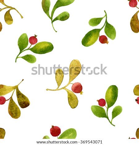 vector watercolor seamless pattern with green leaves and red berries, hand drawn vector background - stock vector
